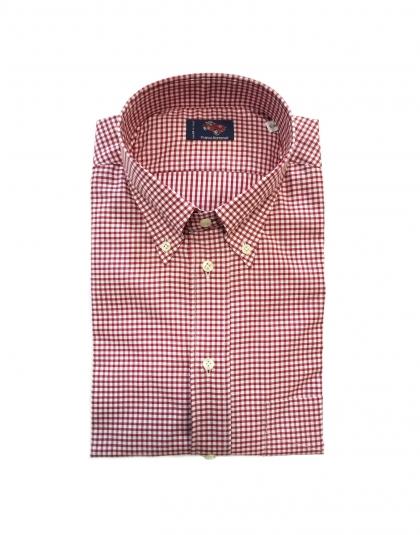 Camicia cotone a quadretti rosso