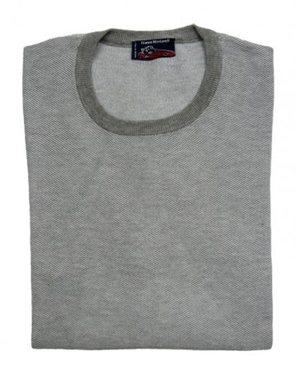 girocollo cotone jacquard grigio