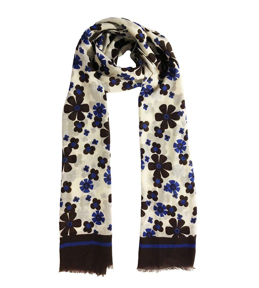 Sciarpa lana fantasia fiori blu