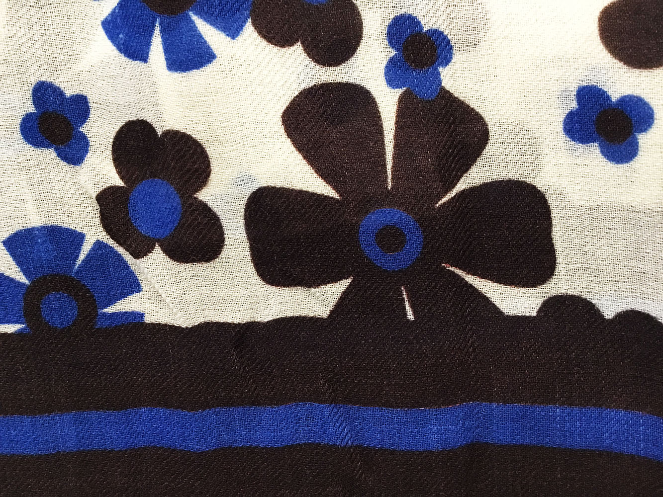 Sciarpa lana fantasia fiori blu1