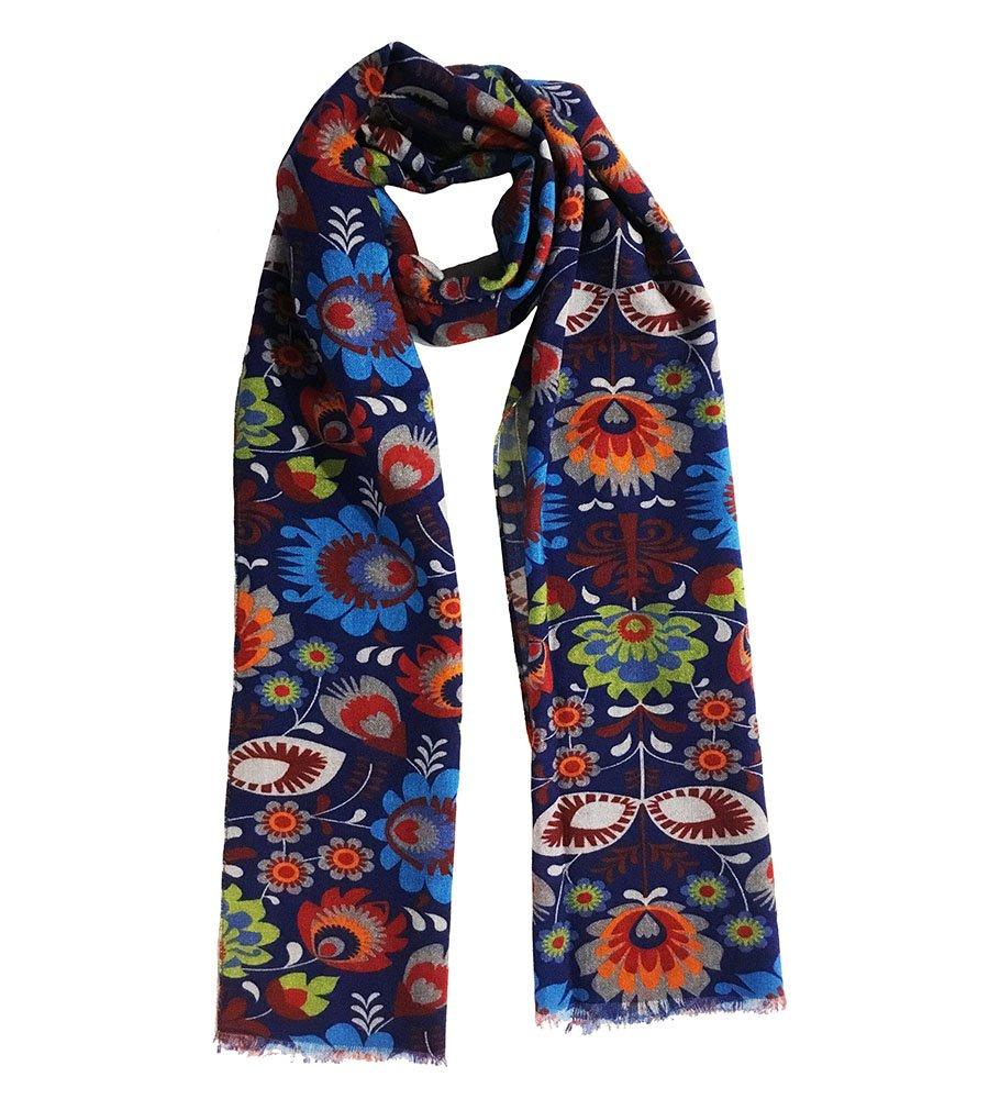 Sciarpa lana stampa floreale