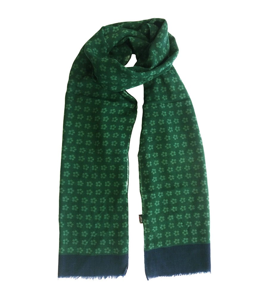 Sciarpa lana stampe fantasia verde