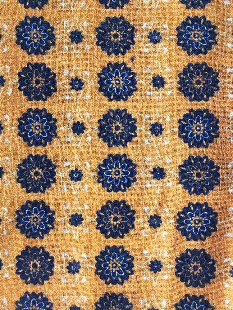 Sciarpa lana stampe fiori blu1