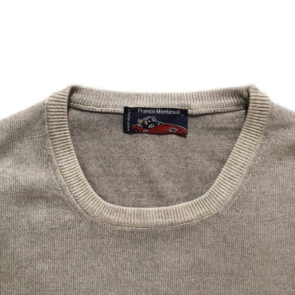 Girocollo lana merinos delavé beige 1
