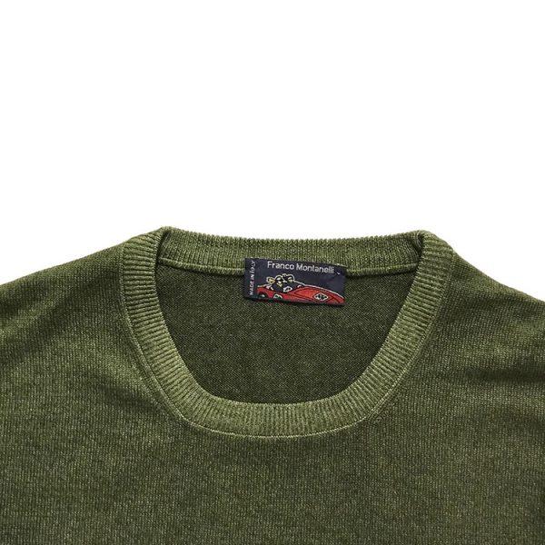 Girocollo lana merinos delavé verde 1