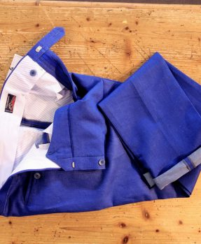 Rota pantaloni cotone azzurri
