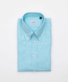 Camicia di lino acquamarina